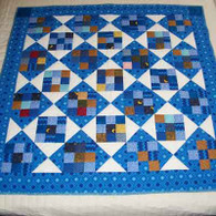Blue Nine Patch Block Quilt - Wall Hanging