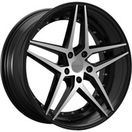 Rosso Reactiv 701 22x8.5 5x120 Machined Black Wheels Rims 38 | 7012285238MB