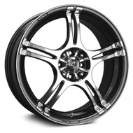 Konig ® Incident 48A Wheel 15X6.5 4X100 & 4X108 Graphite Machined 40mm | 48A-1N65D08406