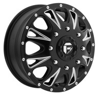 FUEL THROTTLE DUALLY WHEELS  17X6.5 8X210    FRONT 129MM OFFSET  BLACK & MILLED
