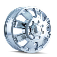 ION ALLOY 166 FRONT DUALLY WHEELS 17X6.5 8X210 CHROME +134MM OFFSET