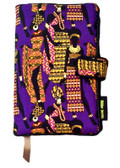 Our Nairobi fabric book cover design reflects the traditions of the Maasai peoples, with colorful and fanciful designs depicting the look of the legendary royalty of African, pre-colonial times.