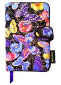 Butterflies love to fly. And this book cover shows nothing less than butterflies flying by. In purples, pinks and yellows, our Butterflies fabric book cover has so many wings fluttering, it will practically hold your book up for you.