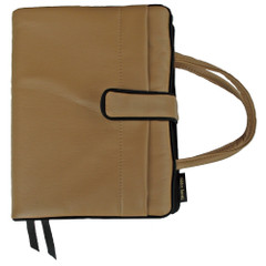 This Bible/Hardback cover uses Ultra Leather which is a synthetic leather use is automobiles for leather seats in areas that do not touch your body. It is soft, cool, extremely durable, and feels like leather. It is washable with a cloth or sponge. It is our toughest book cover material.