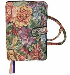 A lovely floral pattern cover to hold most study Bibles.