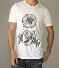 Mens Dreamcatcher Poly/Cotton Crew - White/Grey