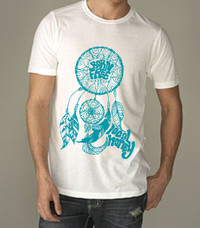 Mens Dreamcatcher Poly/Cotton Crew - White/Turquoise
