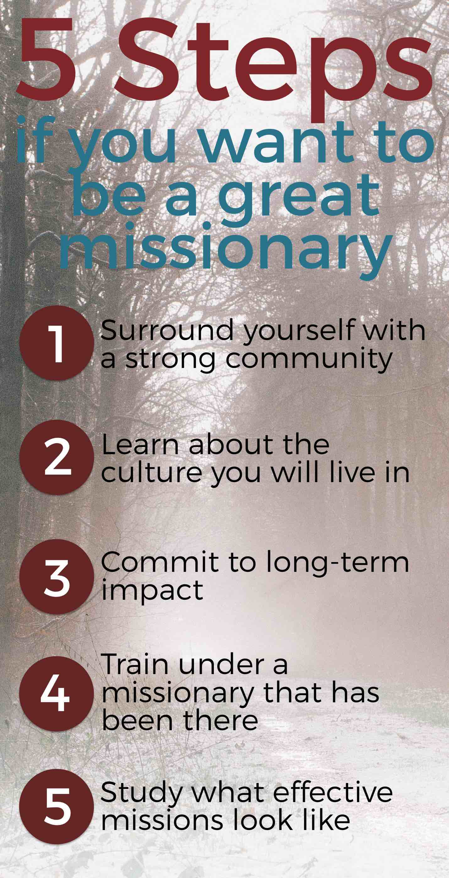 Here are the 5 steps that you need to take if you want to be a great long-term missionary