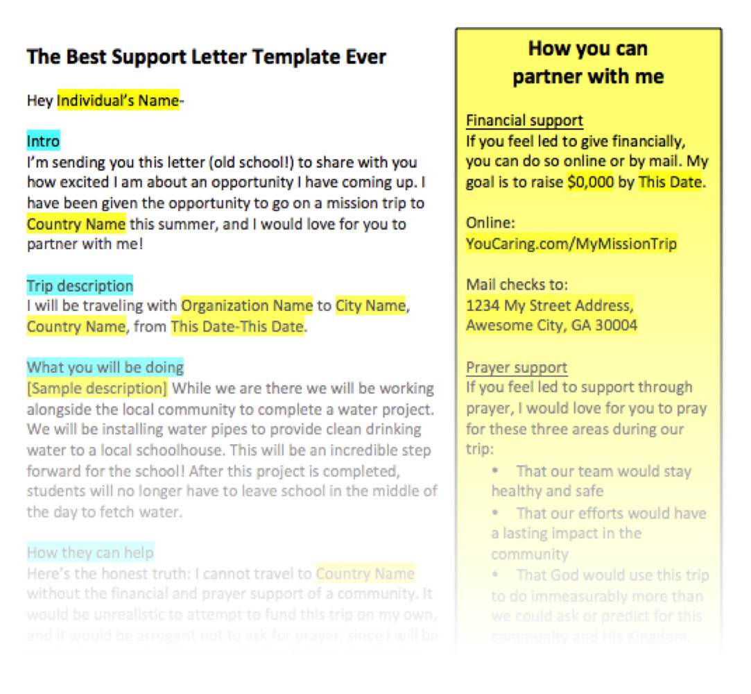 The best support letter template ever