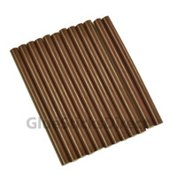 "Brown Milk Chocolate Faux Wax Colored Glue Sticks mini X 4"" 12 sticks"
