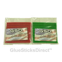 "Red & Green Colored Glue Sticks Mini 5/16"" X 4"" 24 sticks"