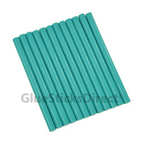 "Teal Faux Wax Colored Glue Sticks mini X 4"" 12 sticks"