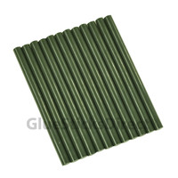 "Army Green Faux Wax Colored Glue Sticks mini X 4"" 12 sticks"