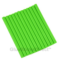"Neon Green Colored Glue Sticks mini X 4"" 12 sticks"