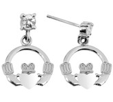 Satin 925 Sterling Silver Earring with CZ