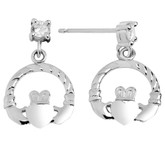 925 Sterling Silver Claddagh Earring with CZ