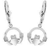 925 Sterling Silver Claddagh Earring with Leverback