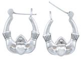 925 Sterling SIlver Claddagh Hoop Earring