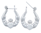 925 Sterling SIlver Polished Claddagh Hoop Earring