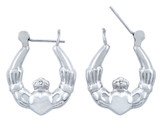 925 Sterling SIlver Claddagh Polished Hoop Earring