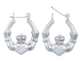 925 Sterling Silver Claddagh Large Polished Hoop Earring