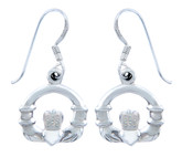 925 Sterling Silver Claddagh French Wire Earring