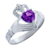 Silver Claddagh Band Ring with Amethyst CZ Heart