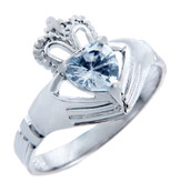 Silver Claddagh Band Ring with Aquamarine CZ Heart