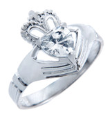 Silver Claddagh Band Ring with White CZ Heart