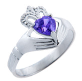 Silver Claddagh Band Ring with Alexandrite CZ Heart
