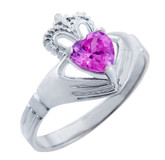 Silver Claddagh Band Ring with Pink CZ Heart