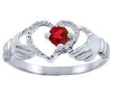 Silver Claddagh Heart Ring with Garnet CZ Stone