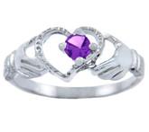 Silver Claddagh Heart Ring with Amethyst CZ Stone