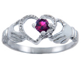 Silver Claddagh Heart Ring with Rudy CZ Stone