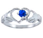 Silver Claddagh Heart Ring with Sapphire CZ Stone