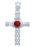 925 Sterling Silver Celtic Cross CZ Heart Pendant with Garnet