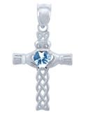 925 Sterling Silver Celtic Cross CZ Heart Pendant w/ Aquamarine