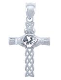 925 Sterling Silver Celtic Cross Clear CZ Heart Pendant