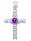 925 Sterling Silver Celtic Cross Pink CZ Heart Pendant