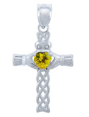 925 Sterling Silver Celtic Cross Yellow CZ Heart Pendant with Topaz