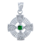 925 Sterling Silver Celtic Trinity Green CZ Pendant with Emerald