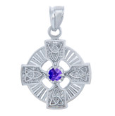 925 Sterling Silver Celtic Trinity CZ Pendant with Alexandrite