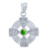 925 Sterling Silver Celtic Trinity CZ Pendant with Peridot