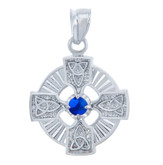 925 Sterling Silver Celtic Trinity CZ Pendant with Sapphire