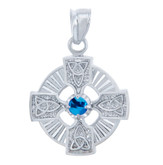 925 Sterling Silver Celtic Trinity Blue CZ Pendant