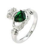 Sterling Silver Emerald Claddagh Ladies Ring