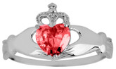 Silver Birthstone Claddagh Ring with Ruby