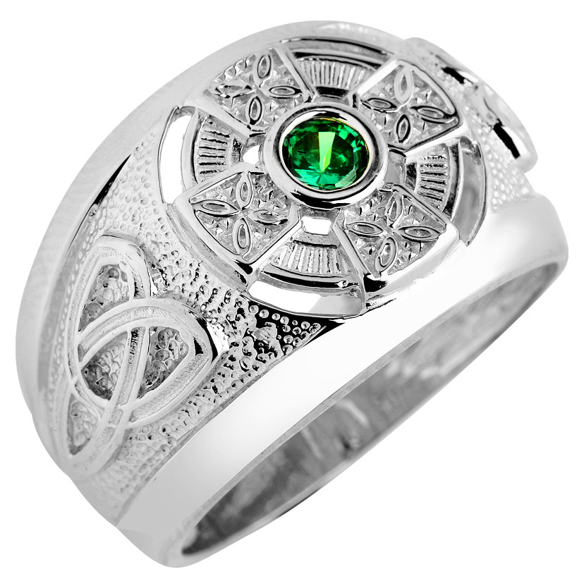 925 sterling silver celtic mens green cz emerald ring ebay. Black Bedroom Furniture Sets. Home Design Ideas