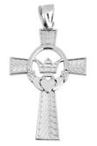 Silver Claddagh Irish Cross Pendant