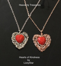 Hearts of Kindness your choice of silver or rose gold with red hearts in beautiful gift box!